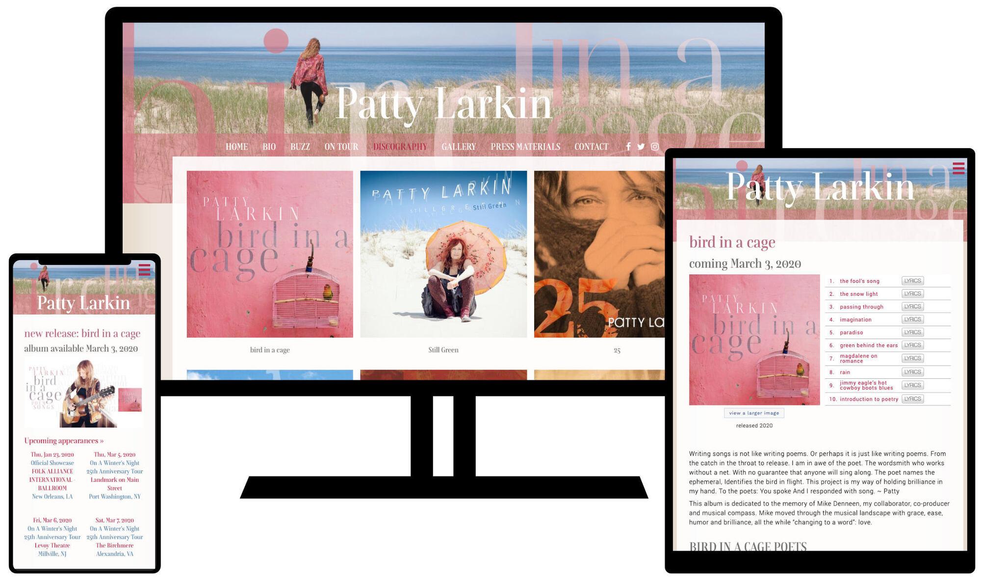 Patty Larkin's Website on desktop, tablet, and phone