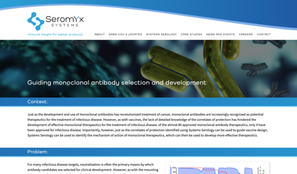Screenshot of Seromyx page about Guiding monoclonal antibody selection and development