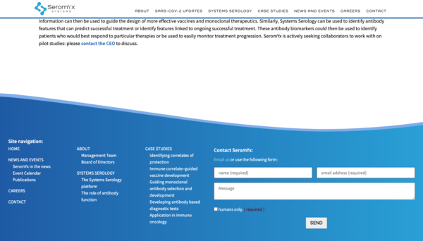Detail of Seromyx website footer
