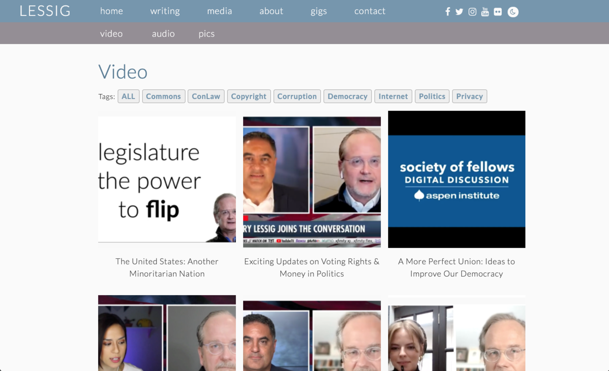 Lawrence Lessig media files on his website