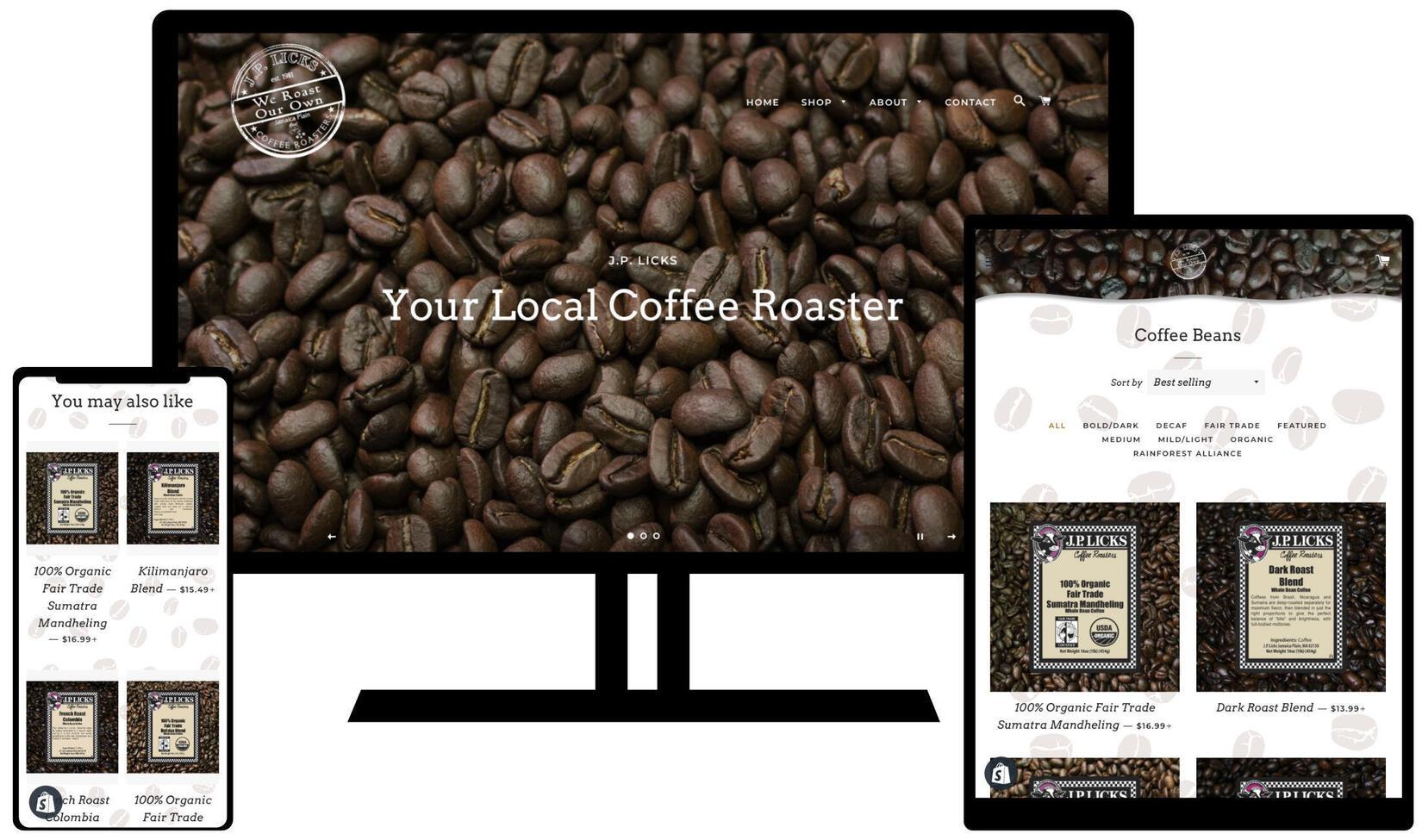 desktop, mobile, tablet views of jplickscoffee.com