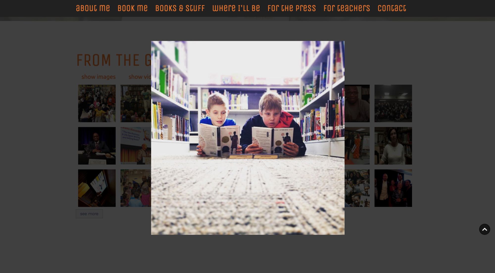 kwame alexander homepage scroll with featured gallery overlay