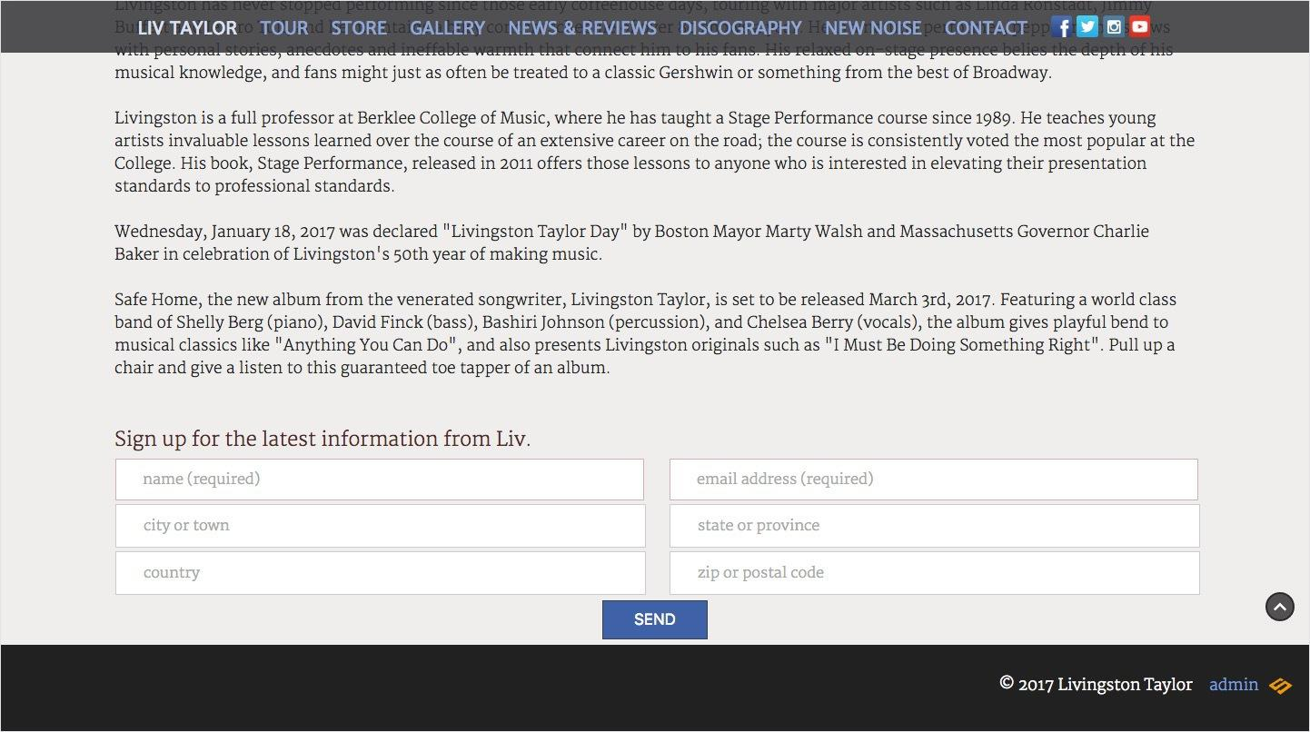 screenshot of livingston talyor website