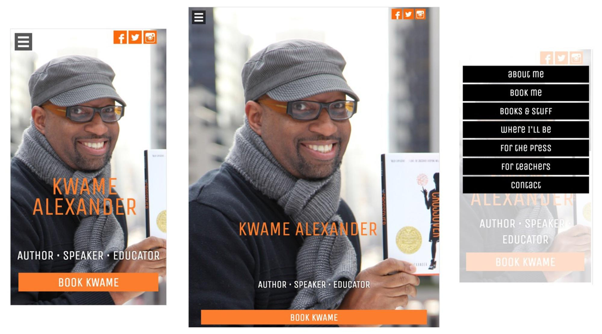 Kwame Alexander dot com Mobile and Tablet layouts