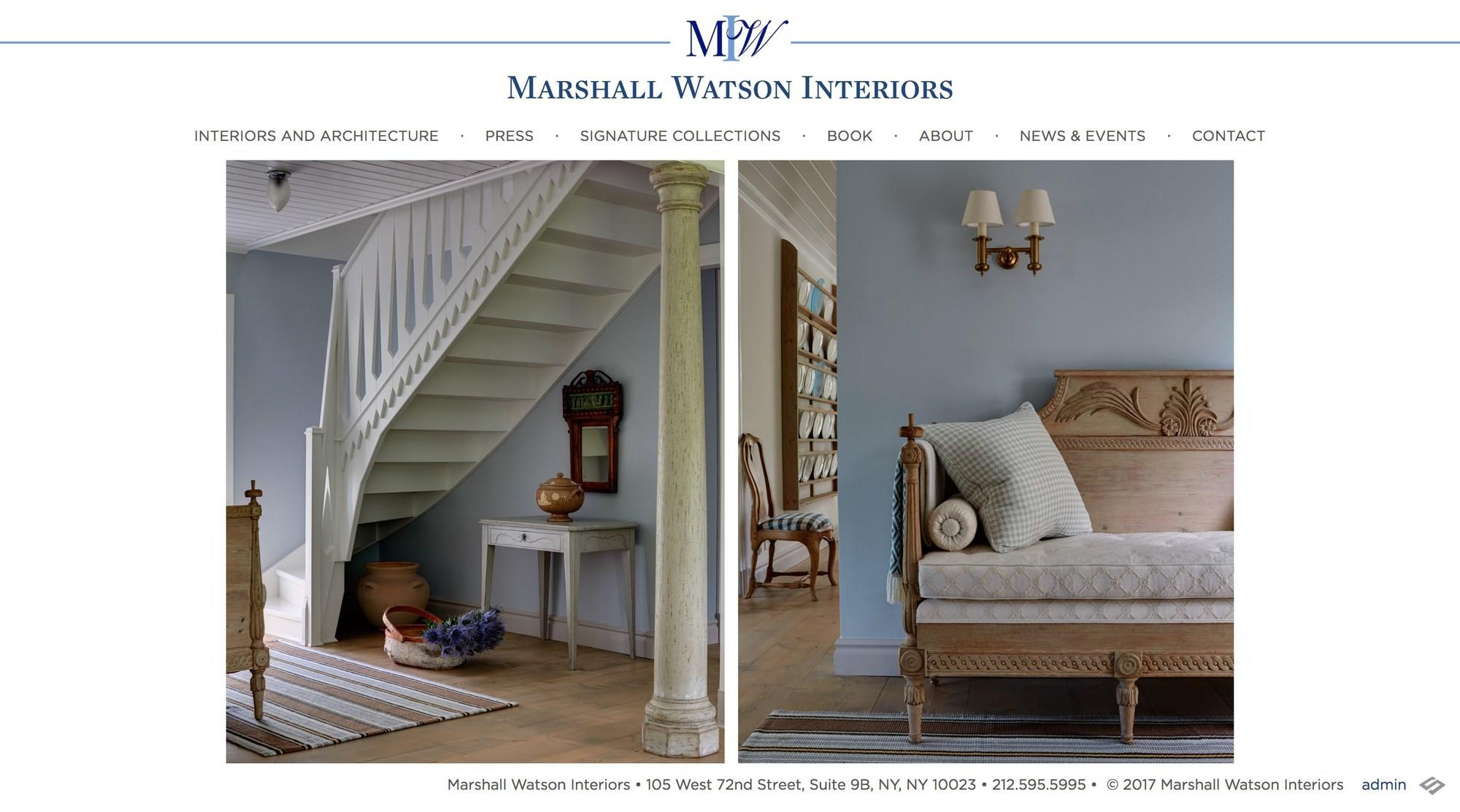 screenshot of marshall watson website homepage